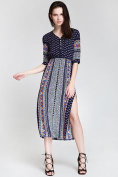 Half Sleeve High Slit Ethnic Pattern Midi Dress - BLUE S