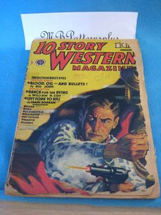 Vintage 10 Story Western pulp Magazine February 1942 - 110 pages western artwork