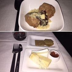 Air New Zealand Business Premier London-LA Dessert: Chocolate Ice Cream and English Cheeses and Crackers