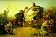 ペルーのインカを征服するピサロ