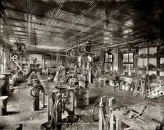 """Circa 1916. """"Section of lumber curing department."""" The raw materials for making wooden legs at what might be the Pittsburgh workshops of J.E. Hanger Artificial Limb Co. National Photo Company Collection -- Shorpy Higginbotham -- Make sure to see check out the full-size version. From the tools, to the machinery, to the building architecture, there is a lot to see here. http://www.shorpy.com/node/5308?size=_original#caption"""