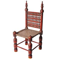 View this item and discover similar for sale at - Colorful wooden chairs like this are indigenous to Pakistan's Swat Valley. Side Chairs, Dining Chairs, Antique Chairs, Room Doors, The Masterpiece, Settee, Wooden Furniture, Modern Chairs, Handicraft