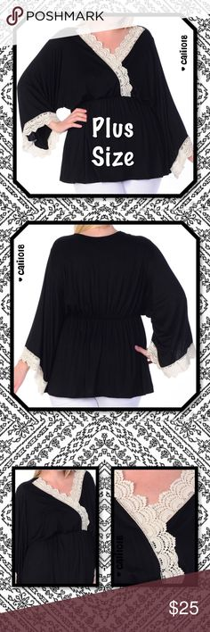 JUST IN🆕Plus Size Trim Surplice Top Kimono Sleeve New Black Lace Trim Surplice Plus Size Top  Color: Black, Beige Material: 97% Rayon 3% Spandex Made in USA Size: 1XL, 2XL, 3XL Fits true to size Kimono Sleeve V-Neck  ⚜Price Firm Unless Bundled⚜  ⭐️Sorry, no trades⭐️  💠LOWBALL OFFERS WILL BE IGNORED💠 Glam Squad 2 You Tops