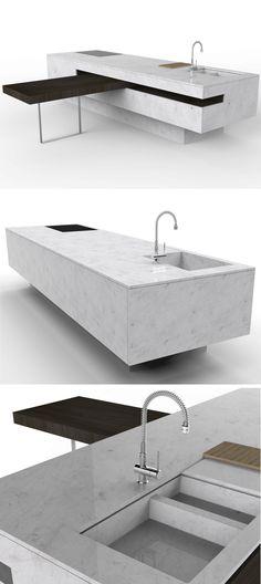 Kitchen with island without handles GUIMARAES ISLAND by @tccwhitestone | #design Fabio Teixeira, Sérgiocosta