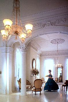 The Famous White Ballroom in Nottoway. The father had Several Daughters to be wedded. So a White Ballroom was built within the 53,000 square feet. Yes, it's documented, 53,000 square feet.