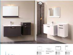 Set Mobila / Mobilier Baie modern mdf lacuit gri si alb  MYSTIC | #Mobila Decor, Bathroom Vanity, Vanity, Furniture, Bathroom Mirror, Home Decor, Mirror, Bathroom Lighting, Bathroom