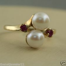 10K GOLD NATURAL RUBY & PEARL WOMANS RING