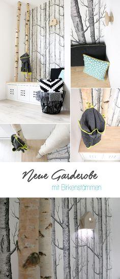 Interior, DIY, Möbel, Gingered Things, Garderobe, Flur, Birke, Birkenstäme, Ikea, Kallax, Ikea Hack, Skandinavisch, Einrichten, Wohnen, Holz