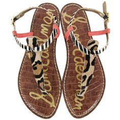 Sam Edelman Gigi New Nude Brahma Hair Sandals ($130) ❤ liked on Polyvore