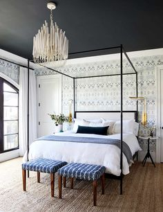 Caitlin And Emily Argue About Canopy Beds (And Discover The Secret To Making Them Work With Regular Height Ceilings) - Emily Henderson Cozy Bedroom, Home Decor Bedroom, Bedroom Ceiling, Guest Room Decor, Wall Decor, Home Interior, Interior Livingroom, Interiores Design, Cheap Home Decor