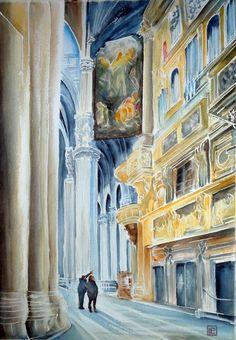""""""" l'organo del Duomo , Milano"""" acquerello di Lorenza Pasquali Paintings 35x50 www.lorenzapasquali.it  Copyright © Lorenza Pasquali —"""