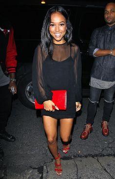 bf954e6d27b 1 karrueche tran black dress prada red wavy sandals triple strap Sandals  Outfit