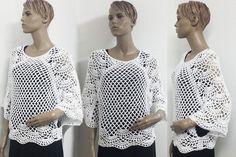 Häkelanleitung weites Shirt Größe 34 bis 48