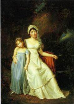 Elisabeth-Louise Vigée Le Brun, Mme de Staël and her daughter. The daughter wears a pretty blue gown.