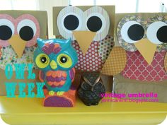 Owl gift bags...so cute!! Just scrapbook paper and brown paper lunch bags! Made these for my daughter's first birthday and they were a hit :)