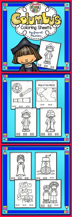 "Christopher Columbus  CHRISTOPHER COLUMBUS COLORING SHEETS  ""Columbus Coloring Sheets"" is the perfect activity for your students for Columbus Day. Just print the sheets and you are ready to go! The sheets come in black and white. Please see the Preview to see the sheets you are getting.  GET THE Columbus Day BUNDLE AND SAVE!"