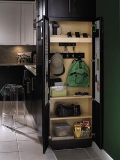 Diamond calls it a utility organizer drop zone Tall Utility Cabinet. Drop Zone, Kitchen Storage Solutions, Kitchen Organization, Cleaning Solutions, Foyer Storage, Cabinet Storage, Cabinet Ideas, Hidden Cabinet, Coat Storage