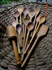 Lot 13 Old Wooden Spoons Masher and Paddle ~ Primitive Kitchen