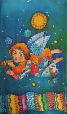 Шарф Ангел-хранитель. Шелк, батик - темно-синий,бирюзовый,авторская работа