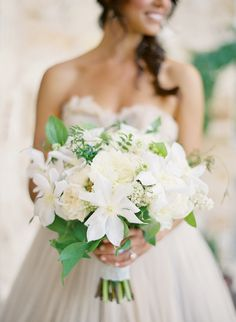 Is that Clematis? Awesome! And ferns?! What a classy/woodsy bouquet!