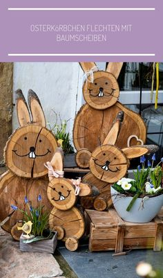 DIY Easter bunnies made of tree slices # wooden disc decoration DIY .- DIY Osterhasen aus Baumscheiben DIY – Projekt Osterhasen aus B… DIY Easter bunnies made from tree slices # wooden disc decoration DIY project Easter bunnies made from tree slices - Diy Projects Easter, Easter Crafts, Wood Log Crafts, Spring Decoration, Tree Slices, Wooden Diy, Easter Bunny, Diy And Crafts, Wedding Flowers