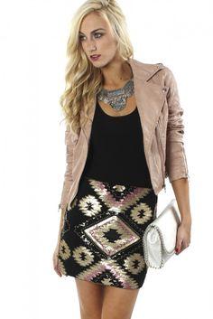 Tribal Sequin Skirt Black ($29.99) #sequinskirt #blackskirt #blushskirt #printedskirt #nyeskirt #sale #saleskirt #discount #sophieandtrey #freeshipping #boutique #nye #winter #fashion #ootd #musthave #cuteoutfit