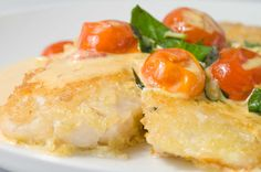 Click for a larger photo of Parmesan Crusted Tilapia with Tomato-Basil Cream Sauce
