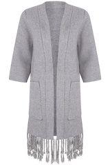 #EsQualo - dik vest met franjes #fashion #colortrends #trends #pantone #sharkskin #gray #grey #fall16 #winter17