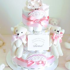 Twins! Polar Bear Diaper Cake with Soft Toy / Baby Girl Shower Centerpiece decoration / teddy / Elegant / gifts Favors / Coral Pink White by AngAngBabyUS on Etsy