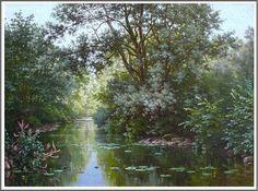 René Charles Edmond His (1877-1960), Paysage à l'Étang. Peace In The Valley, Landscape, Scenery, Corner Landscaping