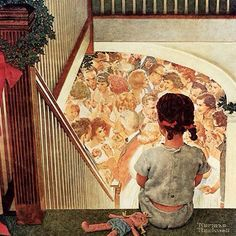 "Norman Rockwell - this is the fabulous tiny painting (10x10) by Norman Rockwell: ""Little girl looking downstairs at Christmas Party"" (1964)- George Lucas collection"