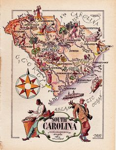 old map of South Carolina, a pictorial map by Jacques Liozu, 1946, this is a good source for high quality printable vintage maps and illustrations #oldmapofsouthcarolina