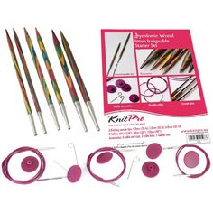 Knit Pro Symfonie Wood Circular Needle Interchangeable Starter Set - I Crochet World Knitting Needle Sets, Knitting Needles, Free Knitting, Thick Yarn, Starter Set, Needle Case, Knitting Supplies, Circular Needles, Country Crafts