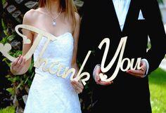 Rustic Wedding Thank You Sign Wooden Photo Prop Custom