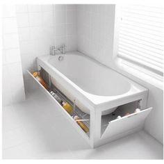 47 creative storage idea for a small bathroom organization shelternesshidden under the bathtub storage is easy Diy Bathroom, Budget Bathroom, Bathroom Flooring, Bathroom Interior, Bathroom Small, Bathroom Cabinets, Bathroom Mirrors, Rustic Bathrooms, Small Bathroom Bathtub