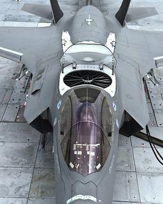 F-35 Lightning II with its dorsal lift fan doors open.