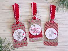 Stampin' Up Christmas Hanging Tags Set of 3 | eBay