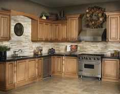 Marron Cohiba Granite w/ Golden Gate Stackstone Backsplash - kitchen countertops. - Marron Cohiba Granite w/ Golden Gate Stackstone Backsplash – kitchen countertops – other metro - Oak Kitchen Cabinets, Kitchen Paint, Kitchen Redo, Kitchen Tiles, Kitchen Colors, Kitchen Flooring, New Kitchen, Kitchen Black, Stone Kitchen Backsplash