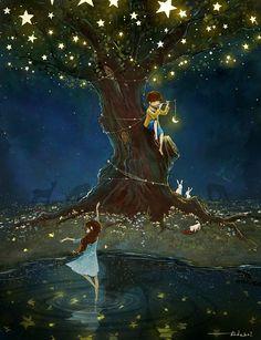 Illustration by Jungsuk Lee - Ego - AlterEgo Art Anime Fille, Anime Art Girl, Art Fantaisiste, Art Mignon, Art Et Illustration, Moon Art, Anime Scenery, Whimsical Art, Aesthetic Art