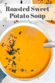 This creamy roasted sweet potato soup recipe is dairy-free, vegan, and easy to make - perfect for #veganuary! Sweet Potato Soup, Sweet Potato Recipes, Roasted Sweet Potatoes, Crock Pot Soup, Slow Cooker Soup, Stuffed Pepper Soup, Stuffed Peppers, Roasted Pecans, Italian Soup