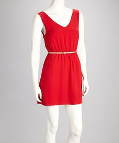 Take a look at this Red Belted V-Neck Dress by Buy in America on #zulily today!