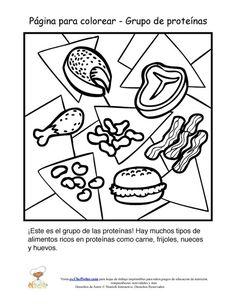 Página Para Colorear para niños que introduce los alimentos del grupo alimenticio de las Proteínas.