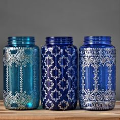 Mason Jar Vase Boho Home Decor with Silver Metal Accents