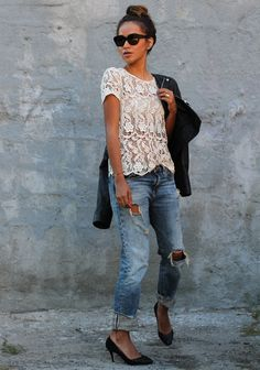 Super cute outfit! Distressed boyfriend jeans paired w feminine lace top + all black sunnies + leather jacket. I'd wear higher heels of course.