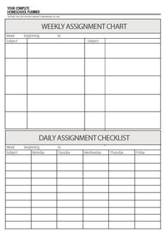 Daily and weekly assignment checklist to help keep holistic records for homeschooling the whole child. From design-your-homeschool.com