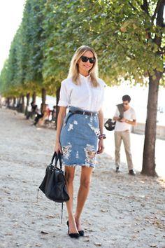 ivsmanifiesto:    White shirt, jean skirt, Stella McCartney shoes and Balenciaga handbag.