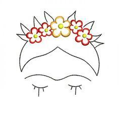 Frida Kahlo Machine Embroidery Designs – Applique Embroidery Design 52 - Flowery Tutorial and Ideas Indian Embroidery Designs, Embroidery Designs Free Download, Applique Embroidery Designs, Embroidery Stitches, Beginner Embroidery, Embroidery Sampler, Sewing Stitches, Embroidery Ideas, Sewing Machine Embroidery