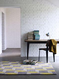 Pastel Lemon Geometric Rug | i love retro