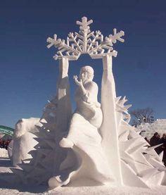Winter festival in Quebec , snow sculpture Snow Sculptures, Sculpture Art, Snow Scenes, Winter Scenes, Image Nature, Ice Art, I Love Snow, Snow Art, Winter Festival
