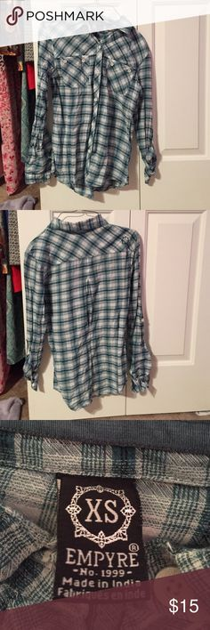 Green and White Plaid Button Down Top Never worn. Just needs to be ironed! :) Empyre Tops Button Down Shirts